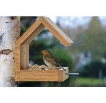 Abri-mangeoire pour oiseaux avec toit en selle 16x19x22cm chêne-thumb-7