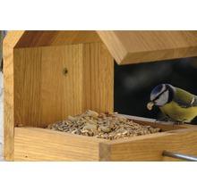 Abri-mangeoire pour oiseaux avec toit en selle 16x19x22cm chêne-thumb-9
