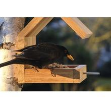 Abri-mangeoire pour oiseaux avec toit en selle 16x19x22cm chêne-thumb-10