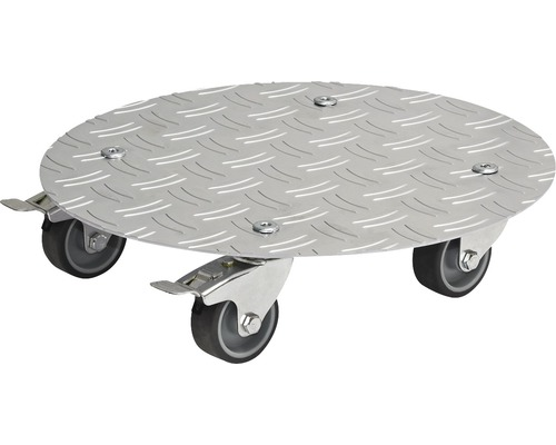 Chariot de plante Multi Roller aluminium Ø 30 cm argent