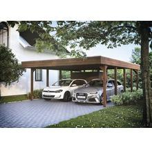 Carport pour deux véhicules Skanholz Friesland 557 x 708 cm, noyer-thumb-3