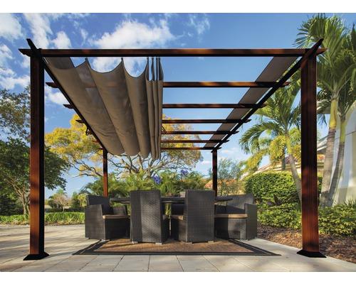 Pergola en aluminium, pavillon SOJAG Florida 11x11 avec voile d''ombrage réglable 320x320 cm Cocoa aspect bois
