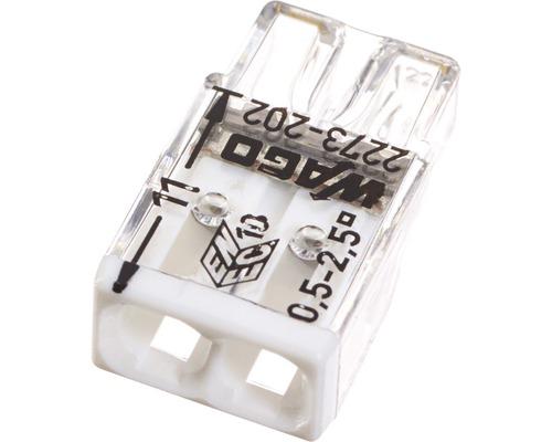 Barrette à bornes Wago 2273-202 Compact 2,5mm² 2conducteurs blanc blanc 100pièces