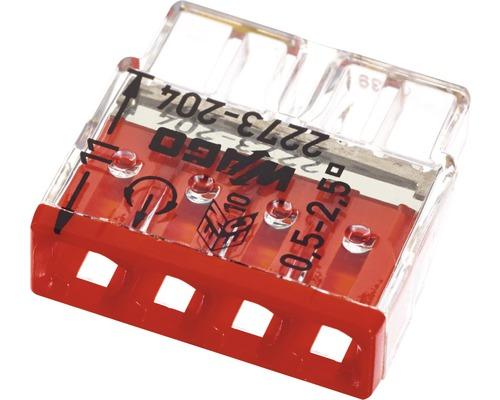 Barrette à bornes Wago 2273-204 Compact 2,5mm² 4conducteurs rouge 100pièces