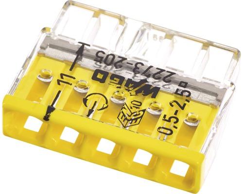 Barrette à bornes Wago 2273-205 Compact 2,5mm² 5conducteurs jaune 100pièces