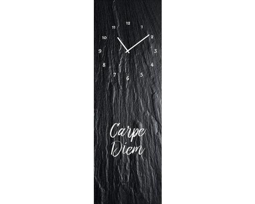 Horloge murale en verre «Carpe Diem» 20x60cm
