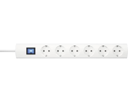 Bloc multiprise USB 6 emplacements avec interrupteur, 90° H05VV-F3G1,5 blanc 1,4m UNOversal