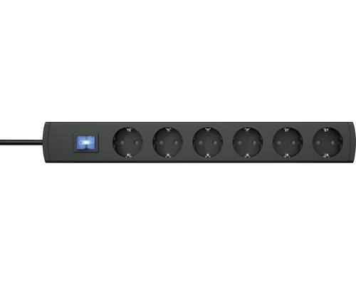 Bloc multiprise 6 emplacements avec interrupteur, 90° H05VV-F3G1,5 anthracite 1,4m UNOversal