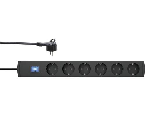 Bloc multiprise 6 emplacements avec interrupteur et fiche coudée, 90° H05VV-F3G1,5 anthracite 1,4m UNOversal