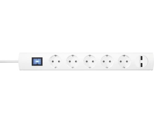Bloc multiprise USB 5 emplacements avec interrupteur, 90° 2x USB H05VV-F3G1,5 blanc 1,4m UNOversal