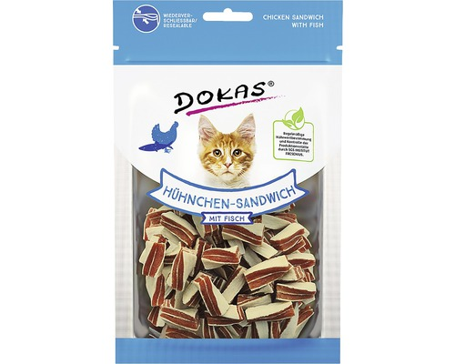 Friandises pour chats DOKAS Sandwich au poulet avec du poisson70g