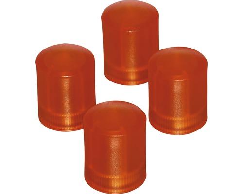 Aimants d''organisation Ø14x17,5mm, orange transparent, lot de 4