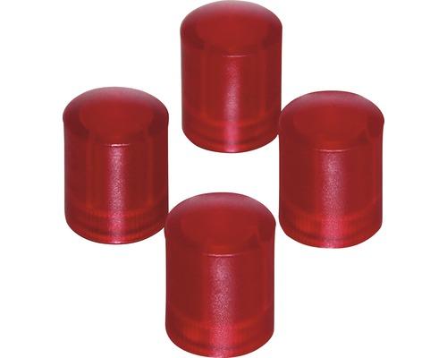 Aimants d''organisation Ø14x17,5mm, rouge transparent, lot de 4