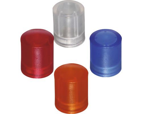 Aimants d''organisation Ø14x17,5mm, diverses couleurs transparentes, lot de 4