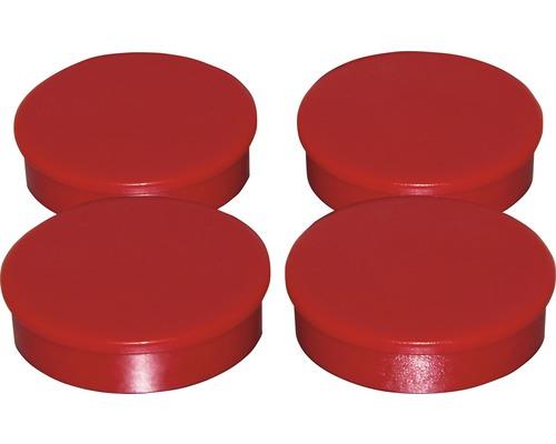 Aimants d''organisation Ø30mm, rouge, lot de 4