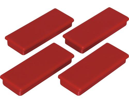 Aimants d''organisation 55x22,5mm, rouge, lot de 4