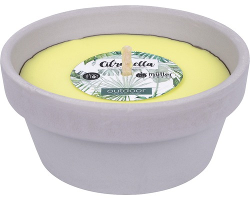 Bougie dans coupe en argile Citronella Ø12cm H5cm jaune