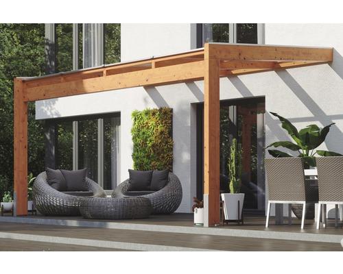 Toiture pour terrasse SKAN HOLZ Novara avec courroies de poteau 450x259cm chêne clair