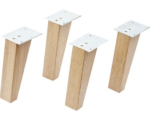 Pieds en bois FACKELMANN pour la série FINN chêne massif 4 pièces 15cm de hauteur