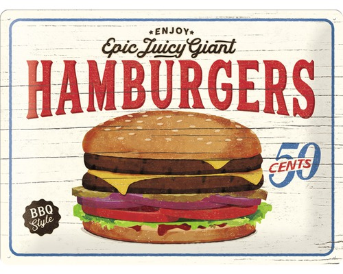 Plaque en tôle Hamburgers 30x40cm