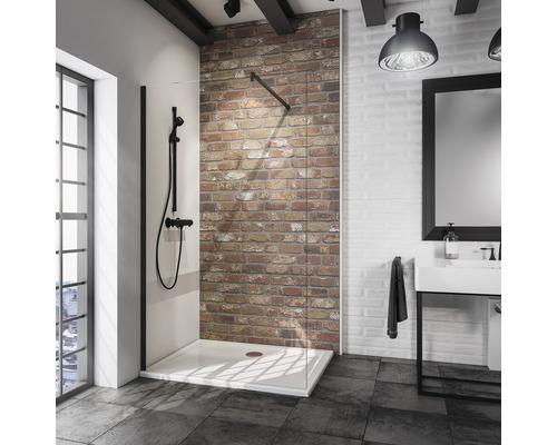 Douche à l''italienne paroi de douche Loft Schulte Alexa style 2.0 Black style largeur 120 cm verre transparent couleur du profilé noir D583710 68 500 200