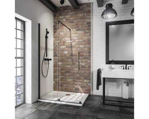 Porte coulissante pour douche à l''italienne Schulte Alexa Style 2.0 Black Style largeur 120 cm verre transparent couleur du profilé noir