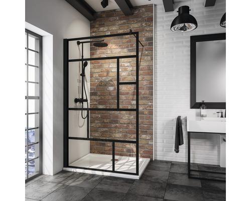 Paroi de douche à l''italienne Schulte Alexa Style 2.0 Black Style largeur 90 cm décor Atelier couleur du profilé noir