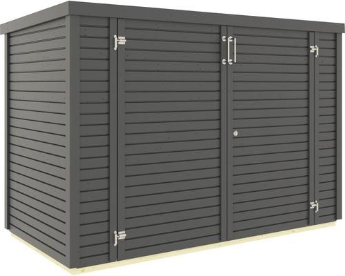 Garage à vélos/armoire de jardin Bertilo Woodline Bike avec plancher 202x106cm anthracite