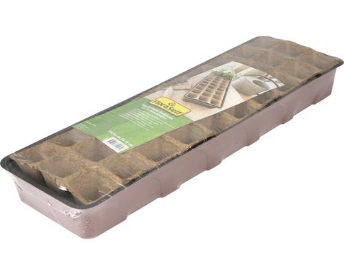 Bac pour mini-serre FloraSelf serre pour rebord de fenêtre 55x17x11 cm, 30 godets et couvercle inclus