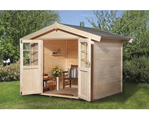 Abri de jardin weka en bois massif 28mm avec toit en appentis et plancher  296x205 cm naturel