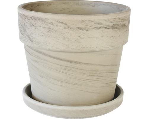 Ensemble de pots de fleurs Spang Calima argile Ø28 H25cm basalte avec soucoupe