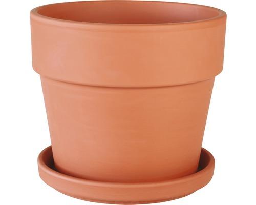Ensemble de pots de fleurs Spang Calima argile Ø28 H25cm terre cuite avec soucoupe
