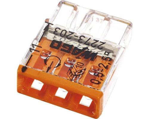 Barrette à bornes Wago 2273-203 Compact 2,5mm² 3conducteurs orange 100pièces