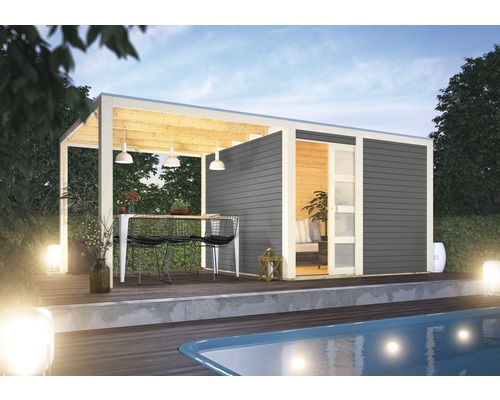 Gartenhaus Karibu Carlson 2 mit Schleppdach und selbstklebender Dachfolie  500x248 cm terragrau