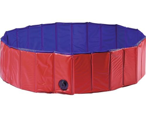 Piscine pour chiens taille M Ø120cm rouge/bleu