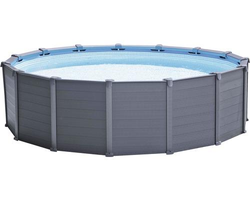 Kit piscine hors sol tubulaire Intex Graphite Panel rond Ø 478x124 cm avec groupe de filtration à sable, échelle, bâche de recouvrement, tapis de sol et flexible de raccordement gris