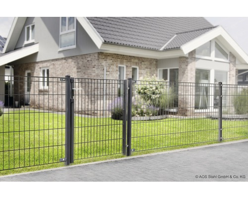 Ensemble complet pour clôture Michl longueur 4m x hauteur 1205 mm avec poteaux et accessoires, anthracite