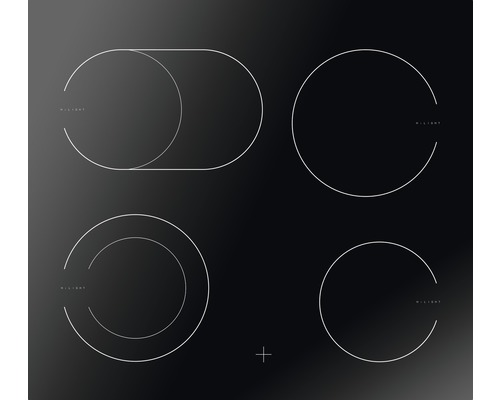 Plaque de cuisson vitrocéramique Amica EC 742 100 C, largeur 57,6 cm