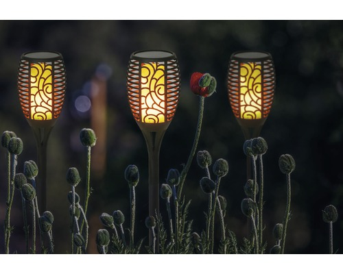 Torche LED Lafiora à énergie solaire extérieur h 75 cm 1 pièce jaune