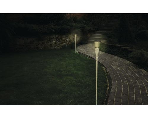 Torche bambou LED Lafiora à énergie solaire H129cm jaune avec capteur de luminosité et pile