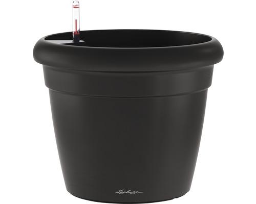 Pot de fleurs Lechuza Rustico Color plastique Ø 35 H 32 cm noir avec système d'arrosage de la terre