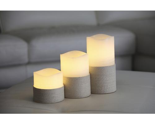 Bougie à LED Tomo à piles Ø10 H10cm blanc chaud avec fonction minuterie