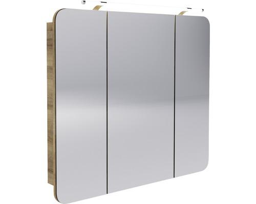 LED Spiegelschrank FACKELMANN Milano 90x78x15,5 cm Ast-Eiche 3 Türen
