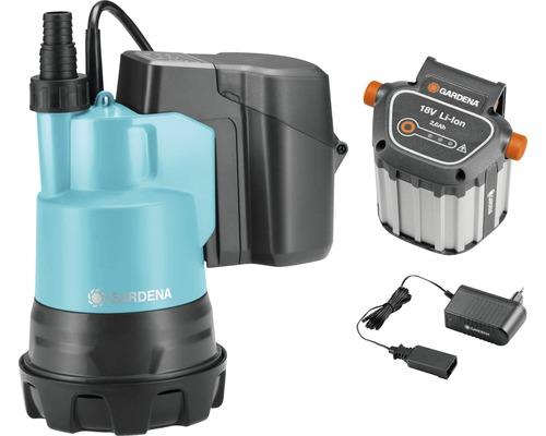 Pompe immergée pour eaux claires à batteries GARDENA TP 2000/2 Li 18 S avec batteries et chargeur