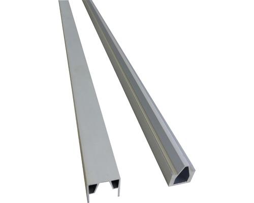 Profilés d''extrémités clôture enfichable WPC 177x15cm, argent