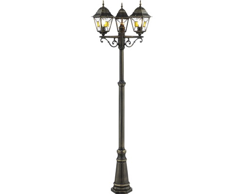 Lampadaire IP44 3 ampoules hxØ 2200x600 mm Janel noir or candélabre