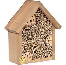 Hôtel à insectes avec toit en pointe19x9,5x22cm marron