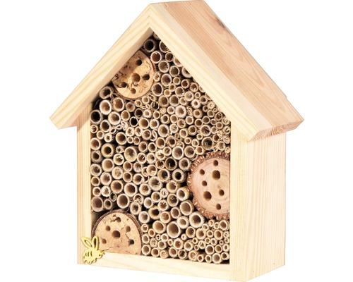 Hôtel à insectes avec toit en pointe19x9,5x22cm nature
