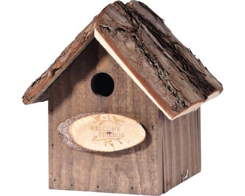 Nichoir Welcome friends avec toit en écorces20x20x29cm