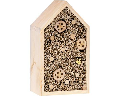Hôtel à insectes avec toit en pointe18x10x32cm nature